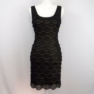 Guess Black Metallic Mini Sheath Dress Size 2